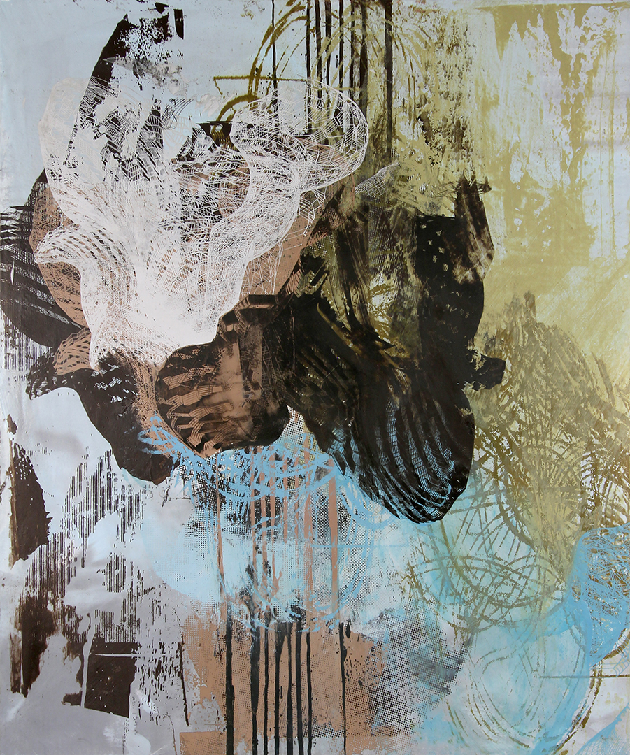 "Untitled 1648 , screen printed oil and wax on linen over panel, 24"" x 20"", $1,400"