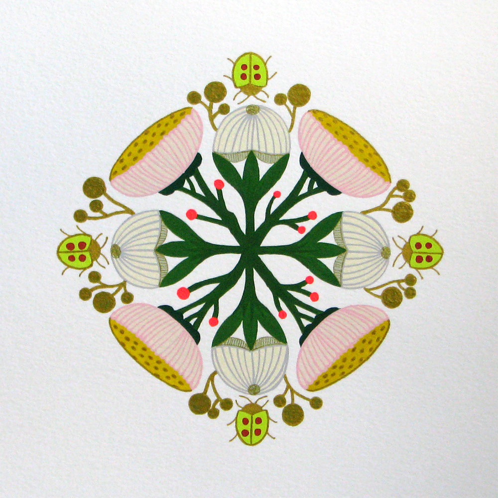 "Forest Floor Mandala #3: Spring Buds , gouache and ink on paper, 12"" x 12"" framed, $750"