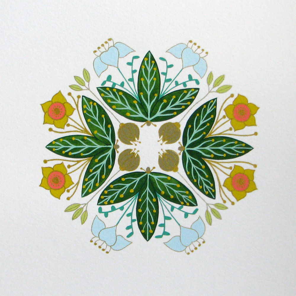 "Forest Floor Mandala #4: Green Leaves and Little Buds , gouache and ink on paper, 13"" x 13"" framed, $850"