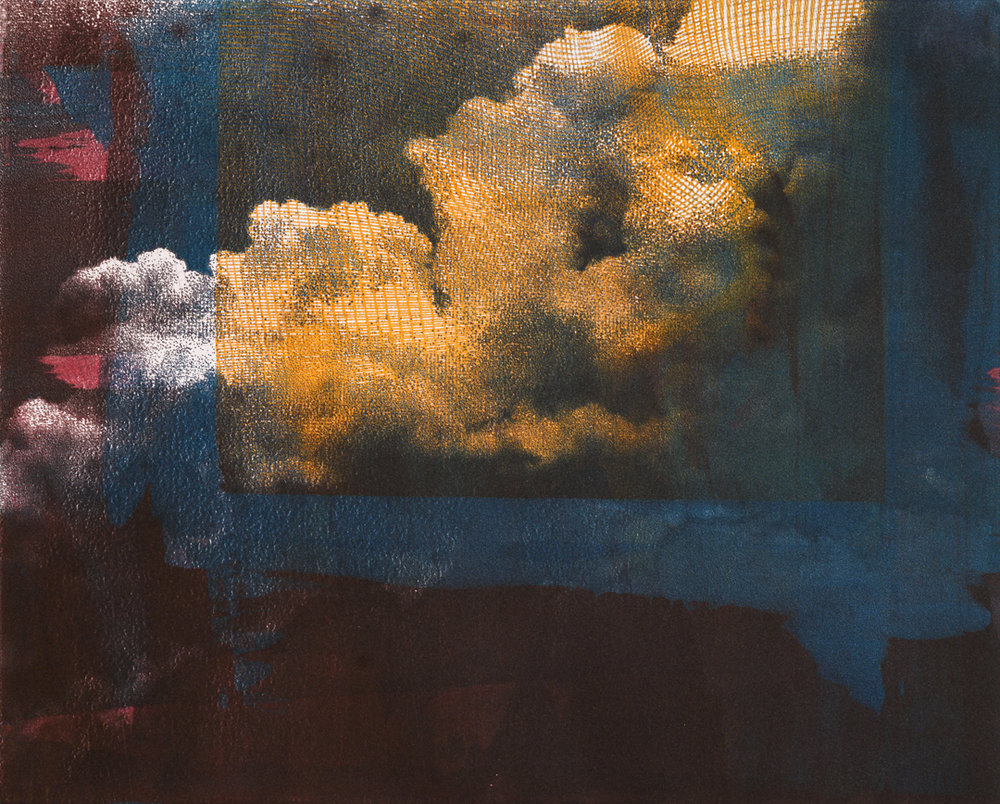 "Untitled Cloud , monoprint on paper, 15"" x 18 1/2"", $680"
