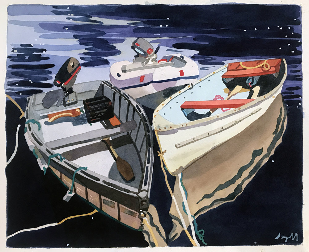 "Rowboats at Night , watercolor on paper, 20 3/4"" x 24 3/4"" framed, $1,800"