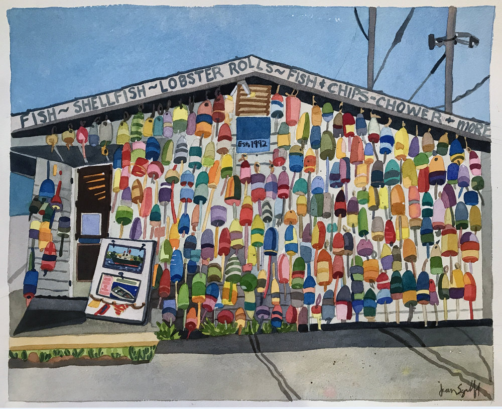"Fish House , watercolor on paper, 18"" x 22"", $1,600"