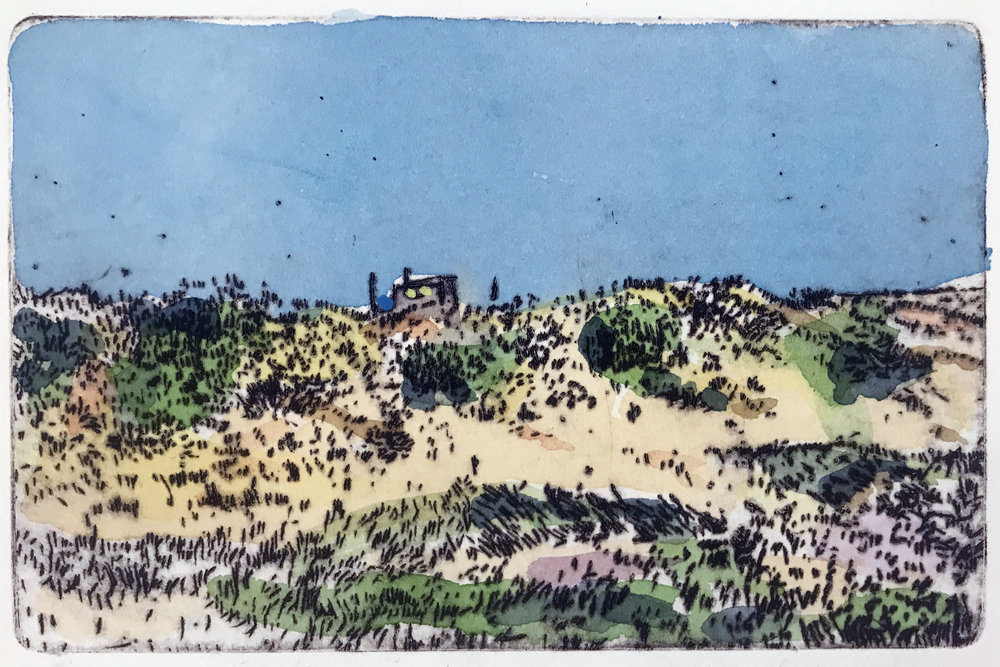 "Dune Shack I , variable edition, drypoint and watercolor on paper, 11"" x 14"", $350"