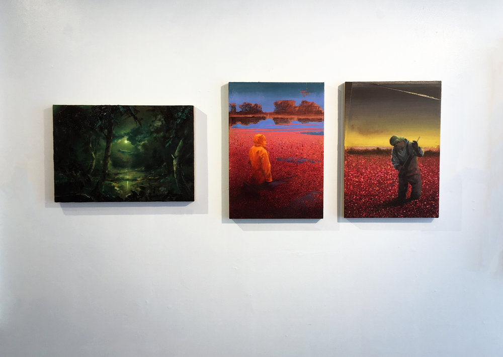 Neusser's paintings currently on view in our P-town Pop-up, 8/29-9/11. (L-r:  Nocturne/Moon (1804) ,  Bog/PinkOrange   (1822) ,  Bog/Angelus (1820) , all oil on linen)