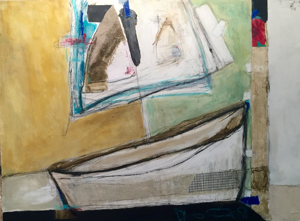 """Castaway , oil, acrylic, pencil, pastel, crayon, felt, drywall tape, tape, painter's tape, rice paper, 39"""" x 42"""" framed, $2,400"""