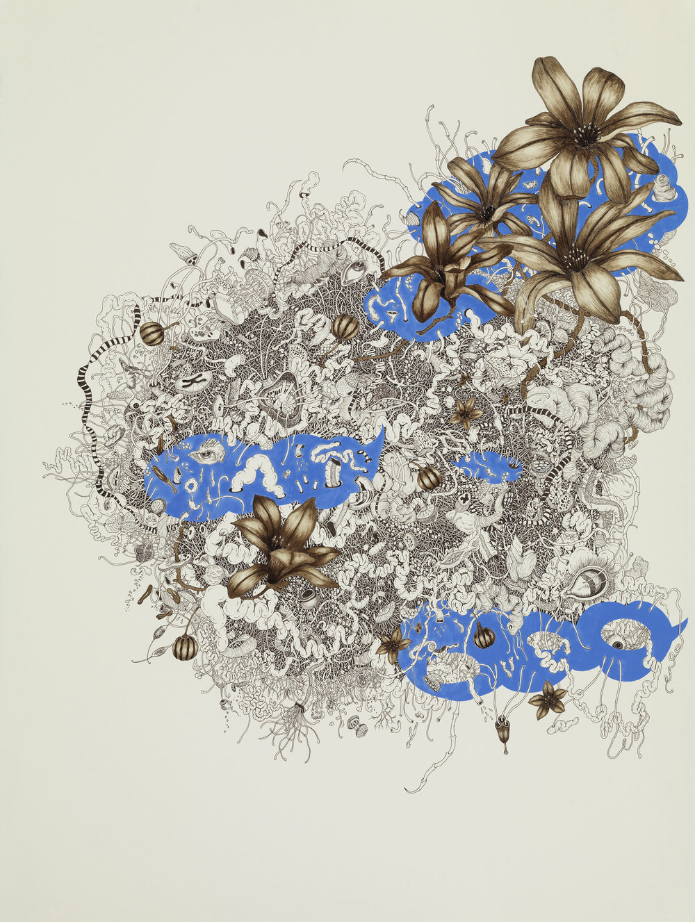 """Intueri II , mineral pigment, micro pigment pen and walnut ink on paper, 30""""x 22"""" framed"""