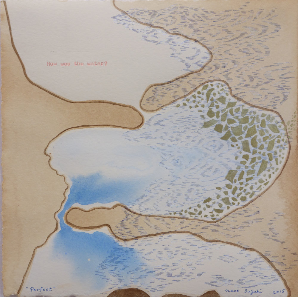 "No Matter: How was the water? , mineral pigment, watercolor, walnut ink, water-soluble wax pastel, typewriter ink, and tea on paper, 10 3/4"" x 10 3/4"" framed, $875"