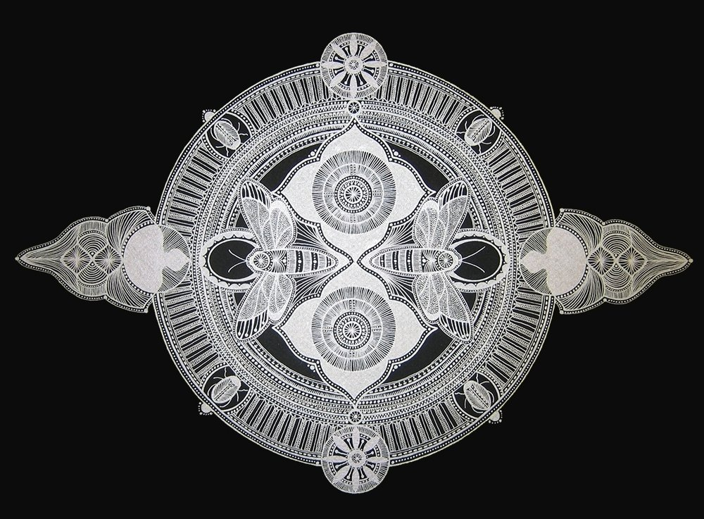 Mary O'Malley,  Mandala #1 , metallic ink on paper