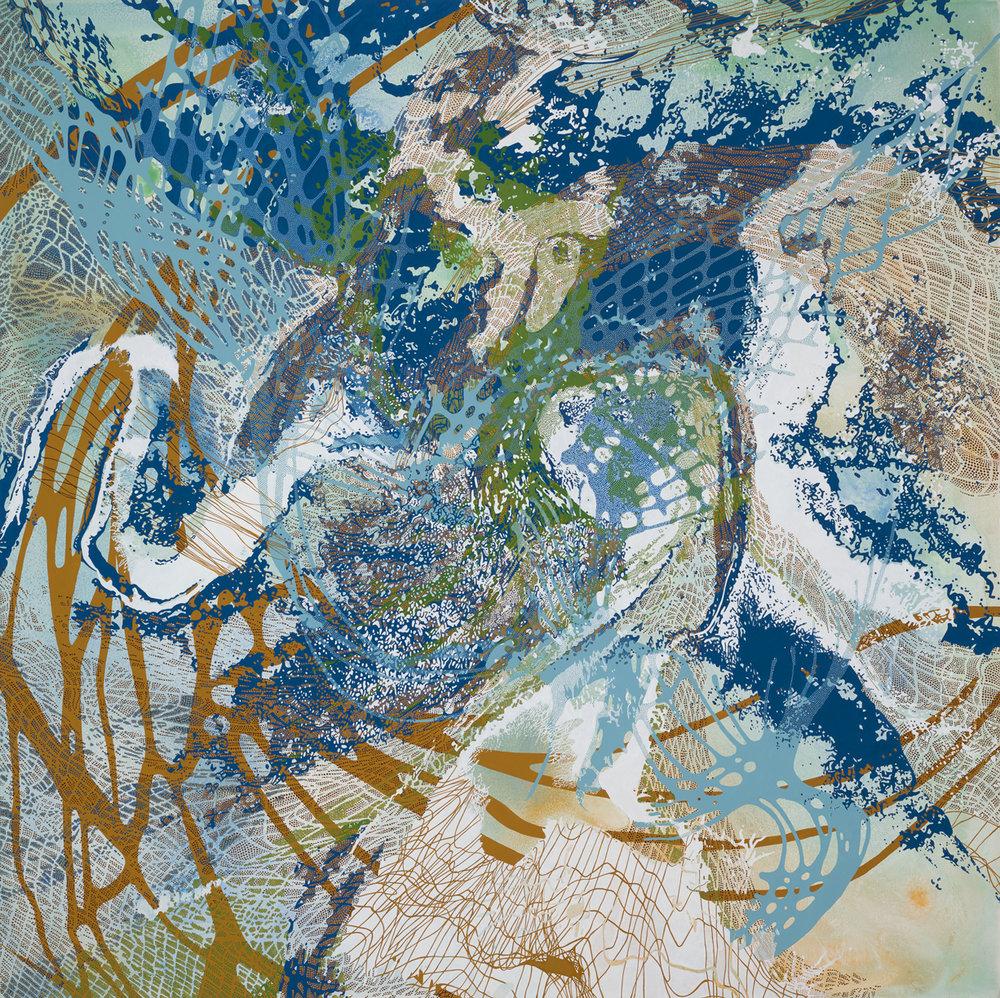 "Lynda Schlosberg ,  In Search Of , acrylic on panel, 60"" x 60"", $17,500"