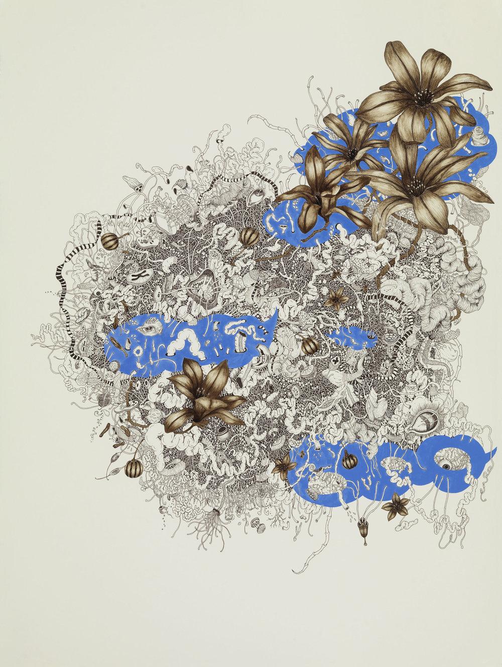 "Naoe Suzuki ,  Intueri II , mineral pigment, micro pigment pen and walnut ink on paper, 32"" x 24 3/4"" framed, $6,000"