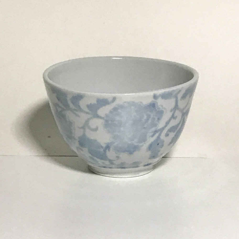"Bowl with Aegean blue screen printing, porcelain, 3 1/2"" x 5"", $70"