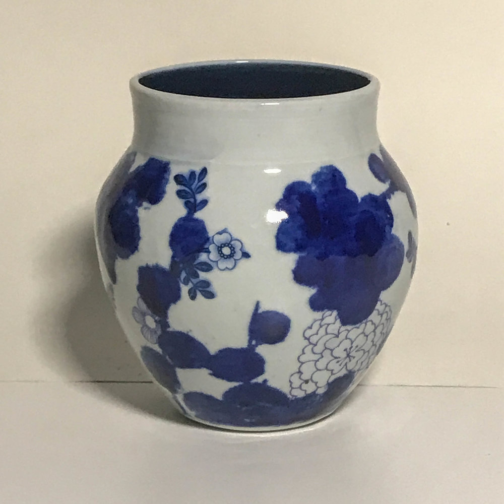 "Vase with cobalt screen printing and transfers, porcelain, 5"" x 5"", $95"