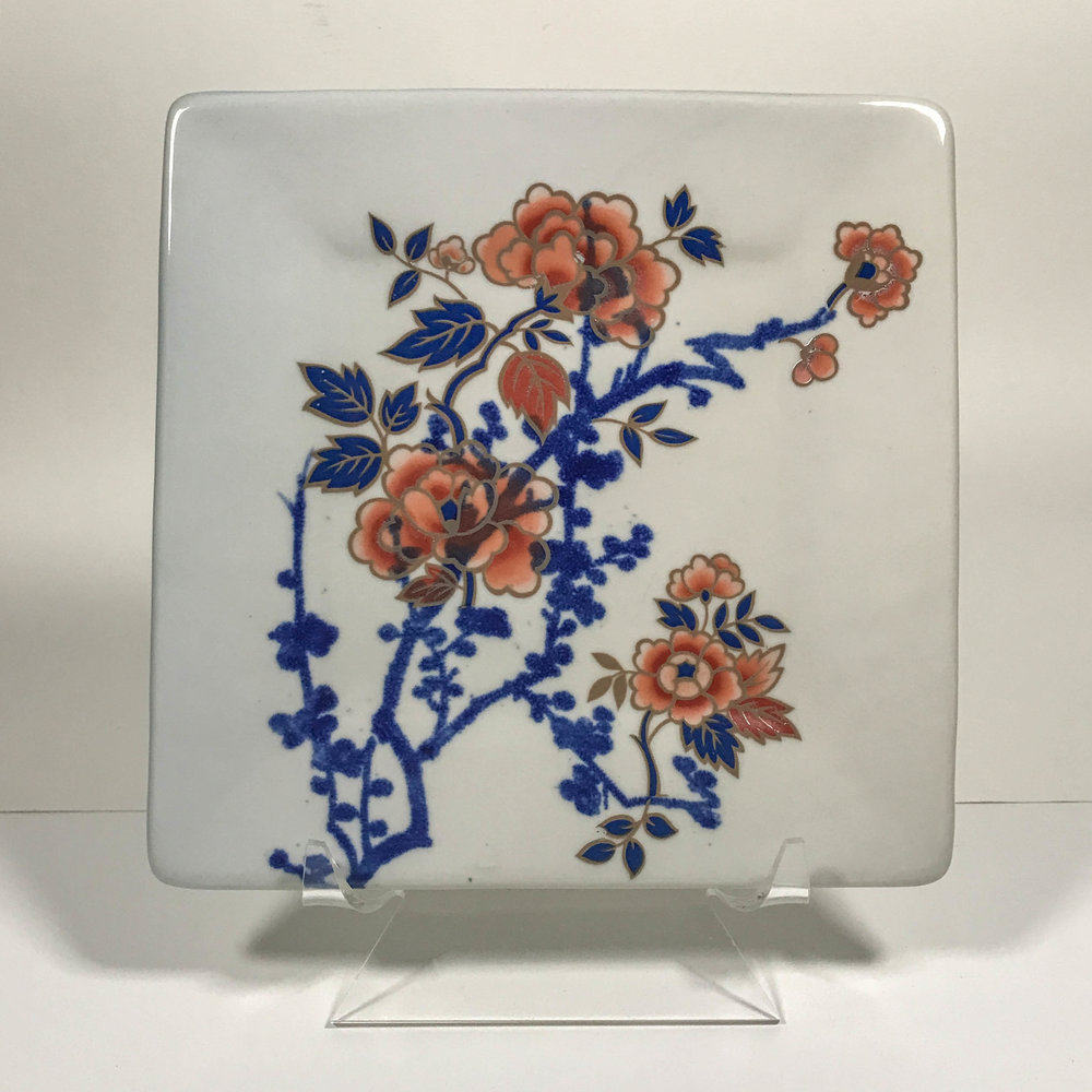 "Square plate with cobalt screen printing and transfers, porcelain, 9"" x 9"", $150"