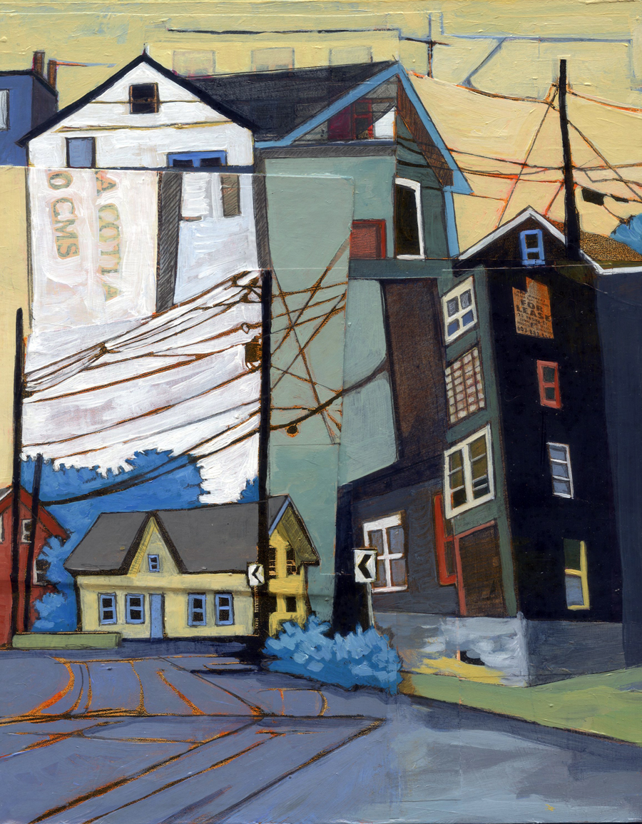 """Beverly to Woodbury, Portsmouth , acrylic and graphite over collage on panel, 10"""" x 8 1/4"""", $425"""