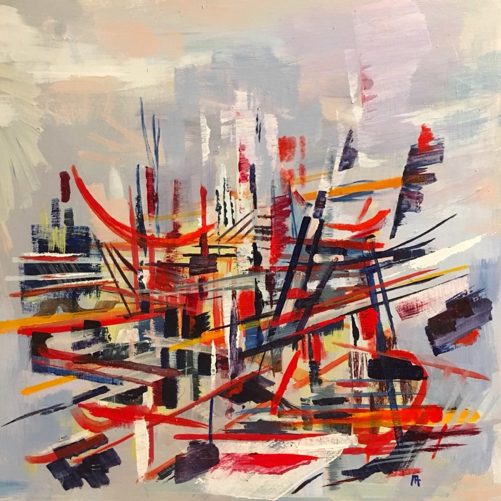 "Marco Athié ,  Dreamtower Under Construction, Hammock Included. , acrylic on panel, 12"" x 12"", $475"