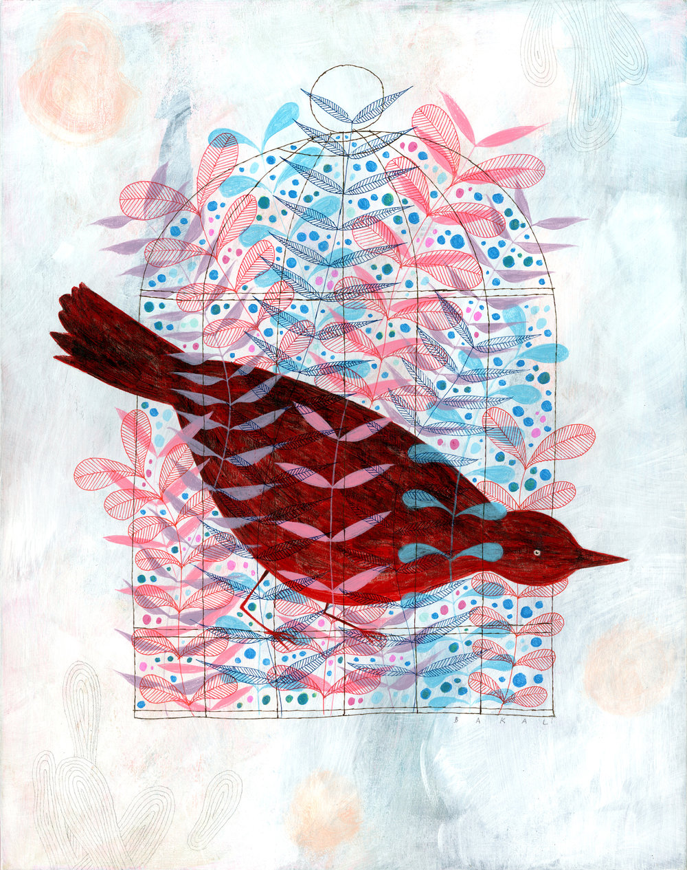 "Scott Bakal,  Plenty! (Red Bird) , acrylic, graphite, and ink on panel, 15 3/4"" x 12 3/4"" framed, $1,000"