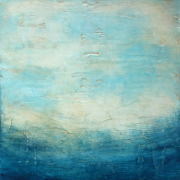 "Ocean Morning , encaustic and oil on panel, 17"" x 17"" framed, $750"