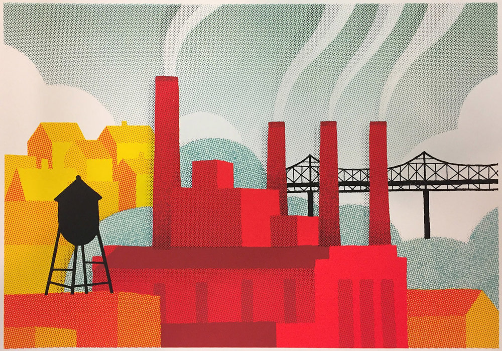 "James Weinberg ,  Powerplant (1/17) , silkscreen on paper, 12 1/2"" x 15 1/4"" framed, $175. Also available unframed, 8"" x 11"", $75"
