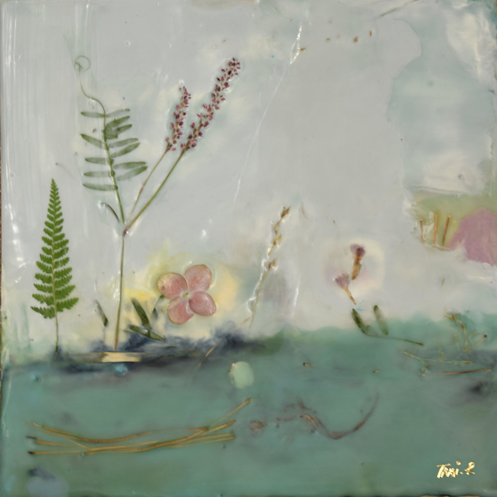 "Tami Rodrig,  Spring , encaustic, dried leaves and flowers on panel, 8"" x 8"", $250"