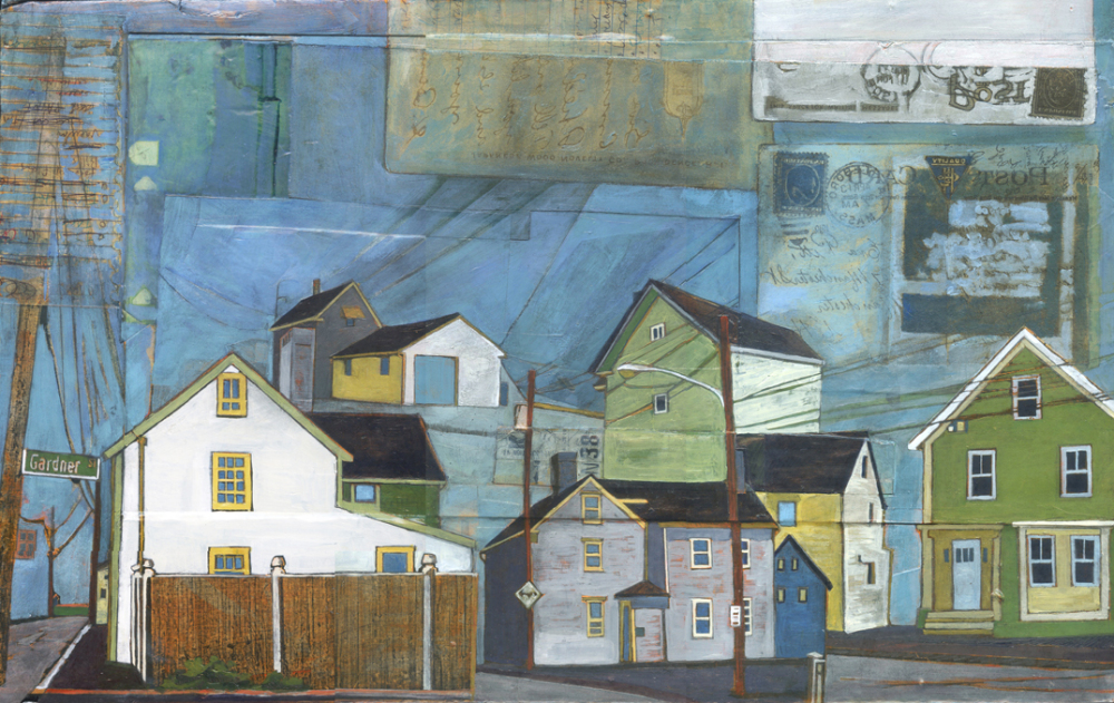 "Stacey Durand ,  Gardner, South and River Streets , acrylic and graphite over collage on panel, 13 1/4"" x 21 1/2"", sold"