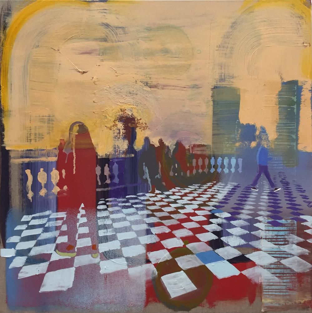 "Andrew Fish ,  Yellow Sky,  oil on linen, 20"" x 20"", $2,200"