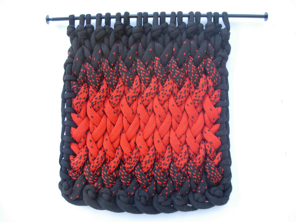 "Adrienne Sloane ,  Double Entendre , knitted cotton yarn, 18"" x 18"", $650"