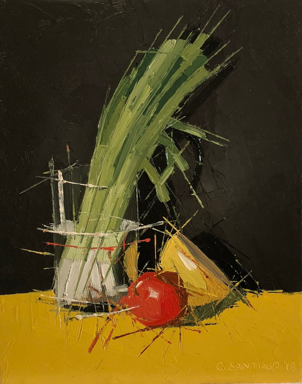 "Carlos Santiago ,  Spring Onion , oil on panel, 10"" x 8"", $500"