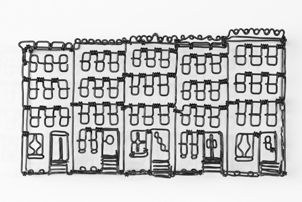 "CW Roelle ,  Rowhouses , painted steel wire, 3 1/4"" x 6"" x 1"", $275"