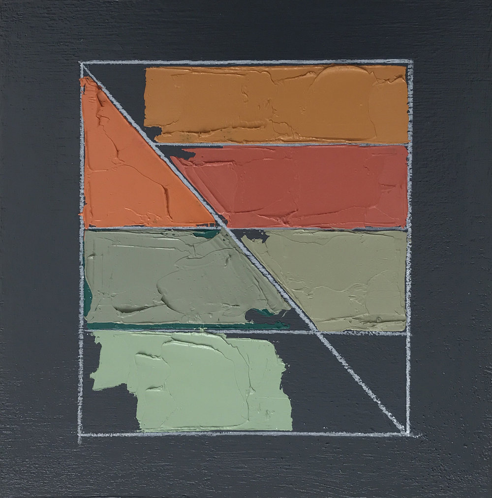 "Color Study No. 2 , oil, acrylic, colored pencil on panel, 6"" x 6"", $200"