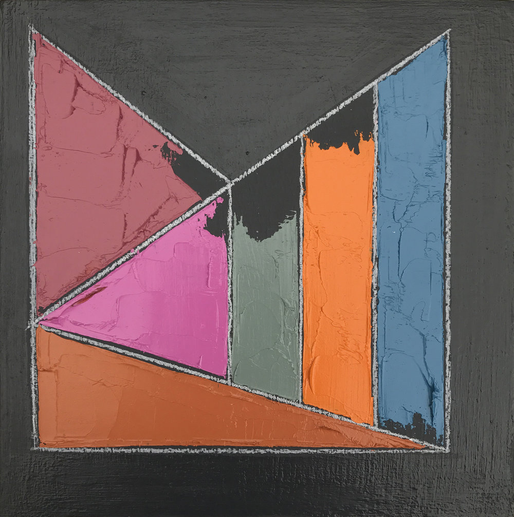 "Color Study No. 3 , oil, acrylic, colored pencil on panel, 6"" x 6"", sold"