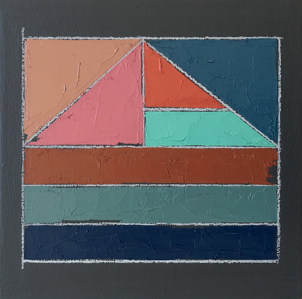 "Color Study No. 5 , oil, acrylic, colored pencil on panel, 6"" x 6"", $200"