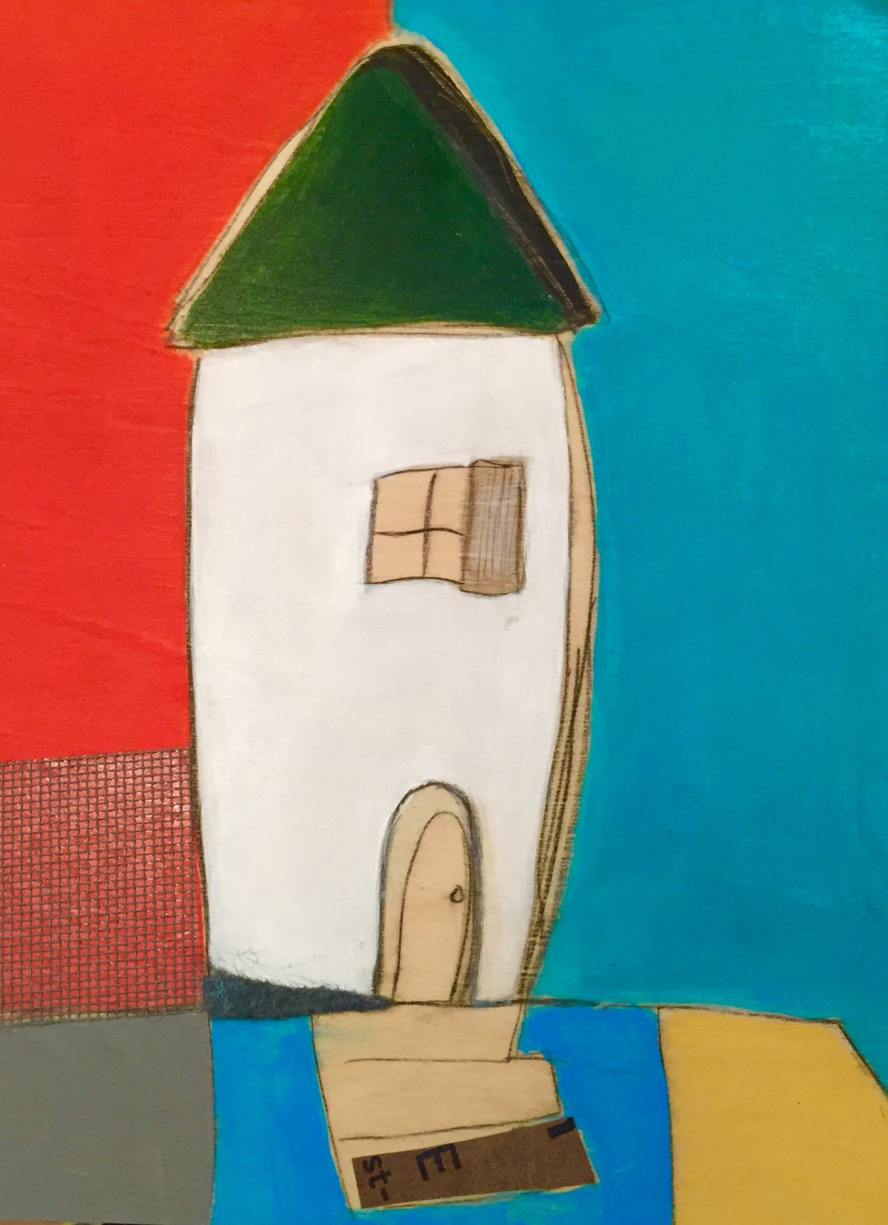 "Karla Quattrocchi,  A House for Michael,  oil, acrylic, pencil, pastel, crayon, paper, screen, felt, tar, shellac on wood, 10"" x 8"", $450"