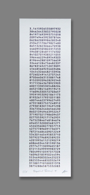 """Proportional Irrational: π (Pi)  (3/40), letterpress on paper, 16 3/4"""" x 7 3/4"""" framed, $250"""