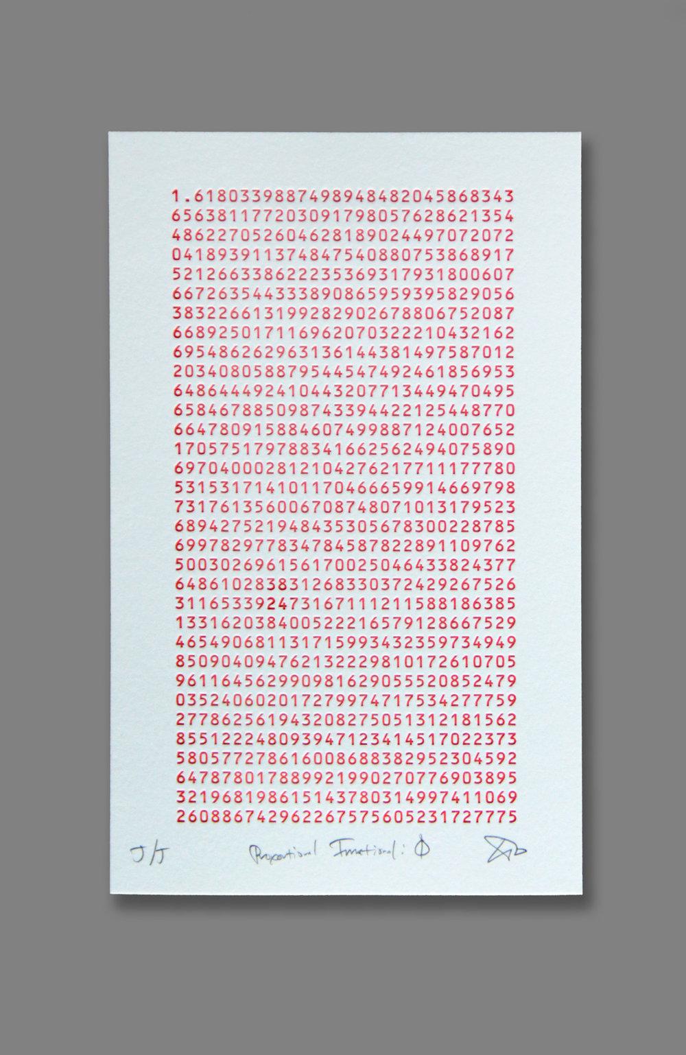 """Proportional Irrational: Φ (Phi)  (1/40), letterpress on paper, 13"""" x 9 1/2"""" framed, $250"""