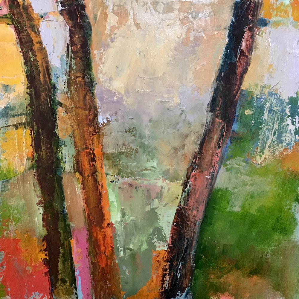 "Heather Pilchard ,  Truro Woods , oil on board, 11"" x 11"" framed, $525"
