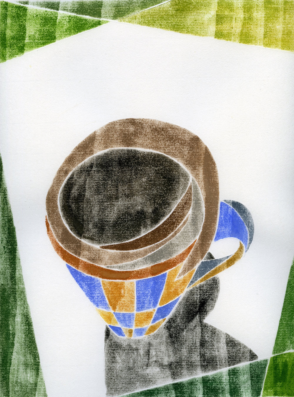 "Amy McGregor-Radin ,  Coffee Break (14.1) , white line woodcut monoprint, 18"" x 15"" framed, $300"