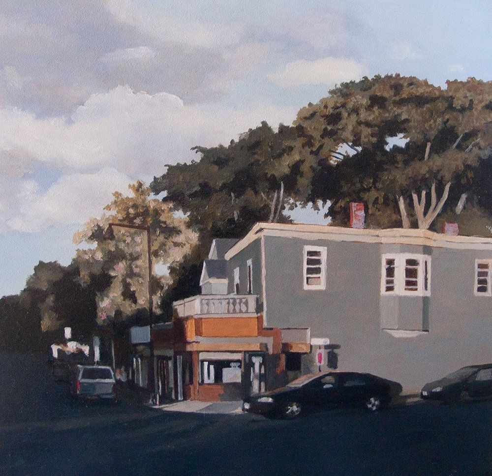 "Kate Sullivan ,  Norfolk Street Laundromat , oil on board, 10 1/4"" x 10 1/4"" framed, $800"
