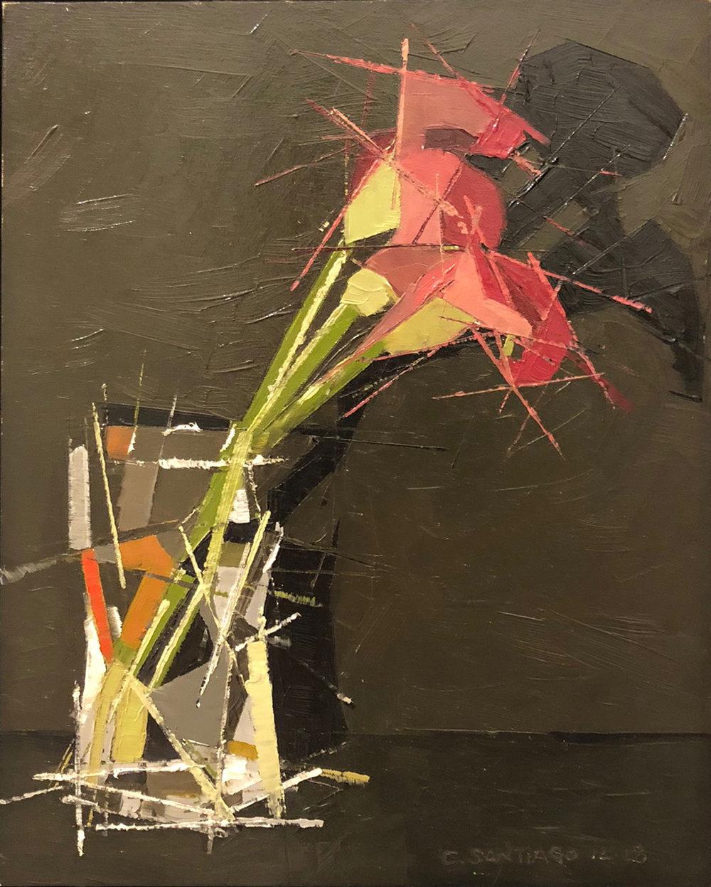 "Carlos Santiago ,  Midnight Pink,  oil on gesso board, 11 1/4"" x 9 1/4"" framed, sold"