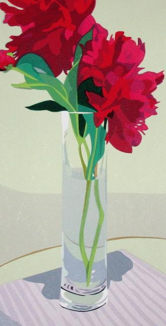 "Anne Silber ,  Two Peonies (6/70) , serigraph, 22 1/2"" x 15"" framed, $450; unframed $250"