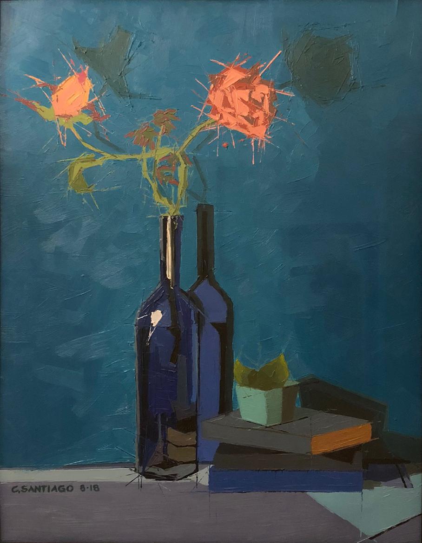 """Books, Roses & Wine , oil on mylar, 28"""" x 22 1/2"""" framed, $1,450"""