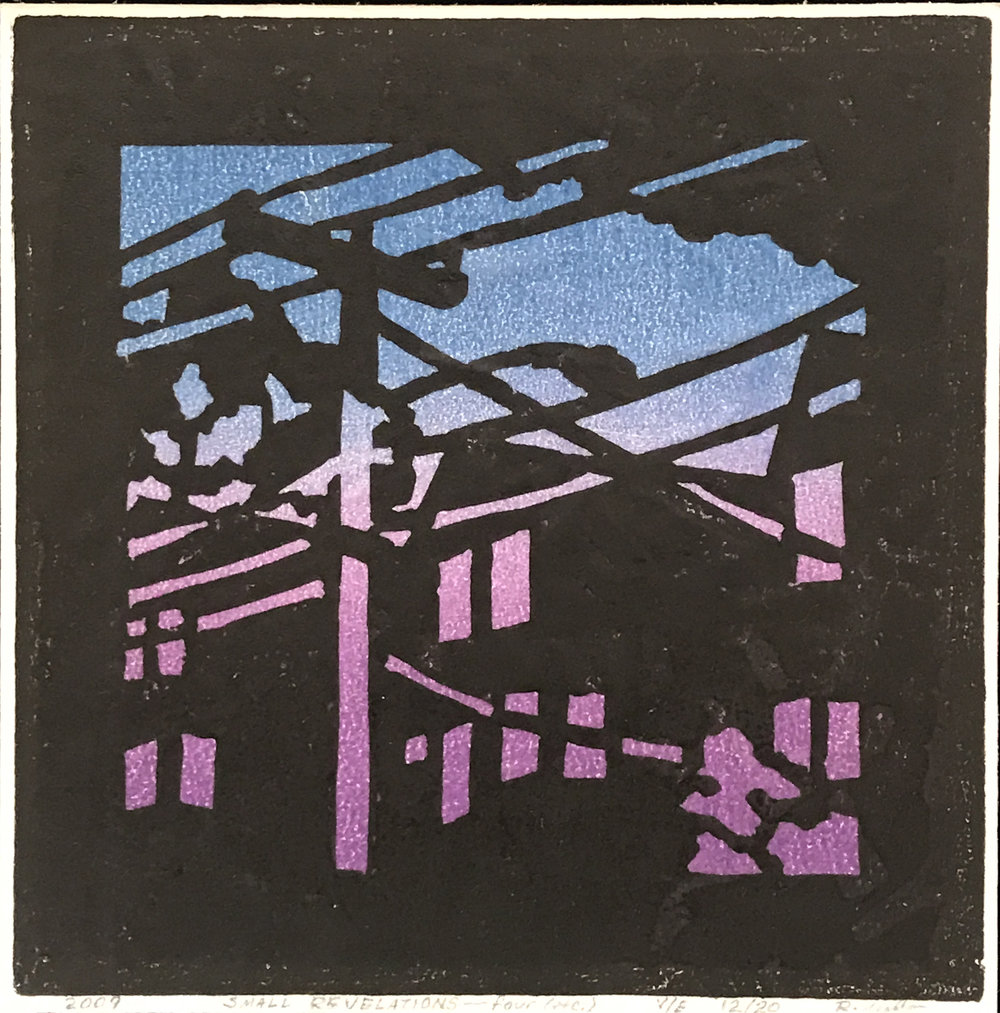 "Small Revelations - four (etc.) (V/E 12/20) , relief print on rice paper, 7 1/2"" x 7 1/2"" x 2"" framed, $125"