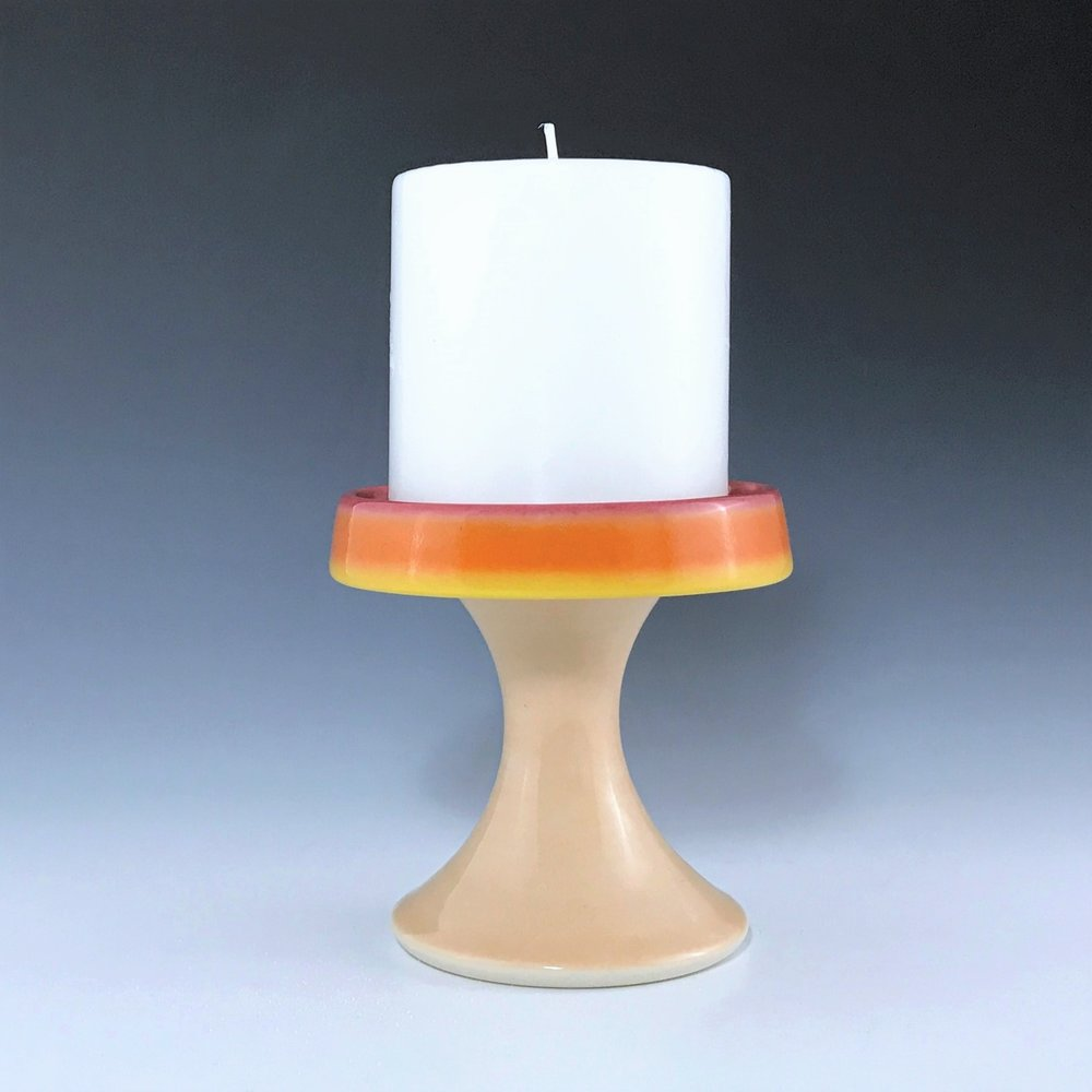 "Orange candle pedestal, wheel thrown porcelain with hand-painted ombre design, 4"" x 3 3/4"", $48 including candle as shown"