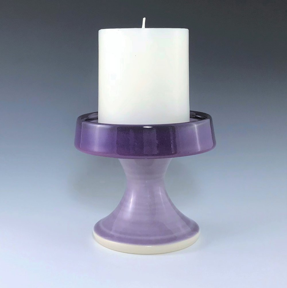 "Purple candle pedestal, wheel thrown porcelain with hand-painted ombre design, 3 3/4"" x 4 1/4"", $48 including candle as shown"