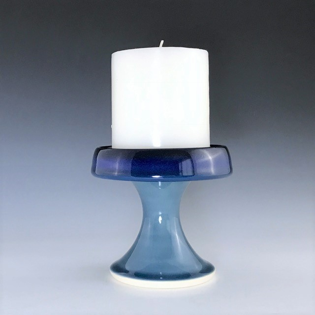 "Blue candle pedestal, wheel thrown porcelain with hand-painted ombre design, 4"" x 4 1/2"", $48 including candle as shown"