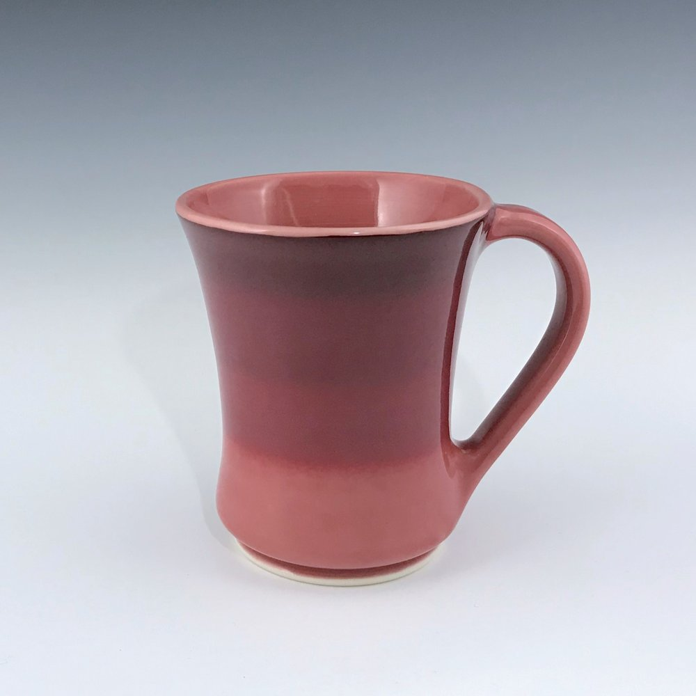 "Red mug, wheel thrown porcelain with hand-painted ombre design, 4 3/4"" x 4"", $42"