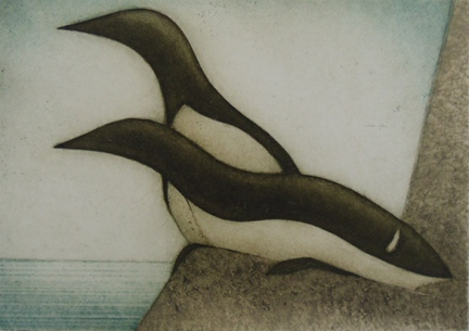 "Murres  (10/30), collagraph on paper, 14 1/4"" x 15 1/2"" framed, $275"
