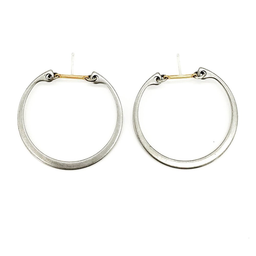 Big industrial hoop earrings, stainless steel hoop and brass bar with sterling silver post, $60