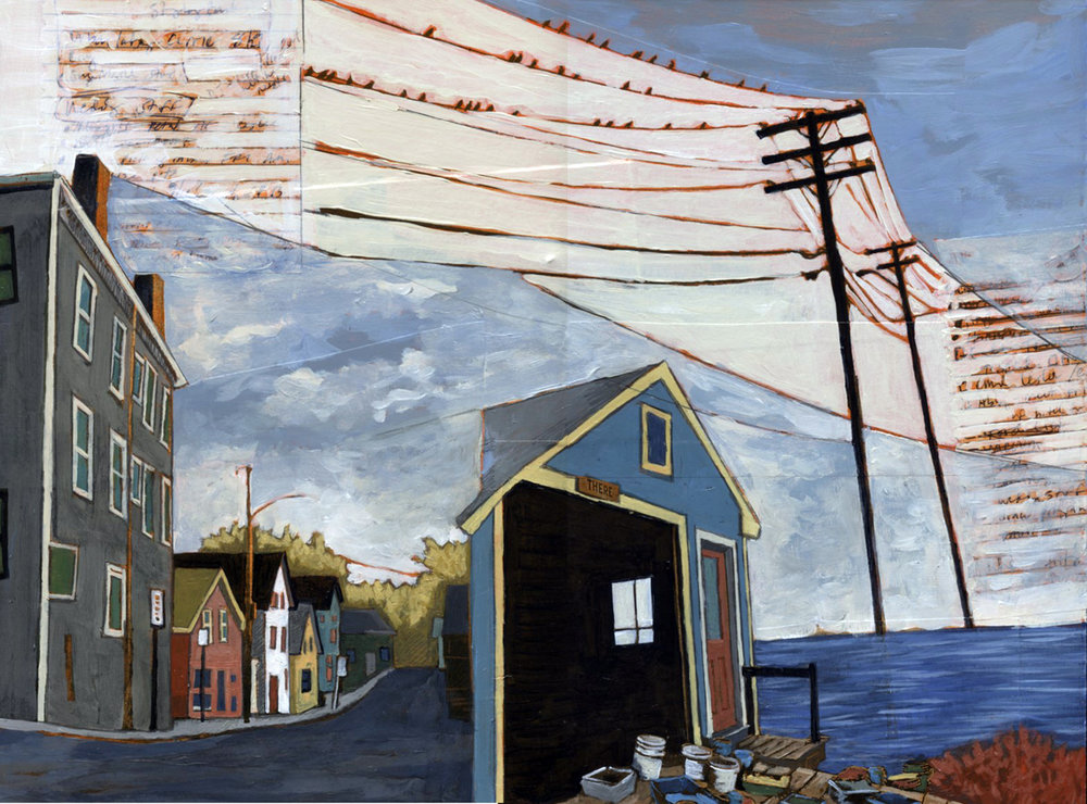 """Stacey Durand ,  Fifteen Years of Seacoast Neighborhoods  #7 (Beverly to Star Island ), acrylic, collage and graphite on panel, 12"""" x 16"""", $700"""