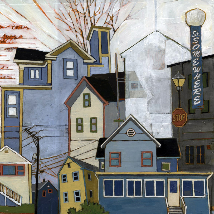 """Stacey Durand ,  Fifteen Years of Seacoast Neighborhoods #6 (St. Somewhere to Newmarket  ), acrylic, collage and graphite on panel, 12"""" x 12"""", sold"""