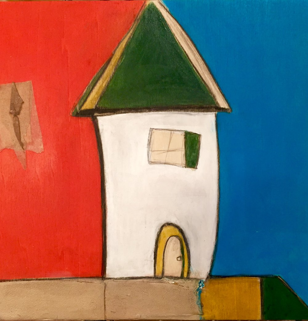 """Gwendolyn's Tower II , oil, acrylic, pencil, pastel, crayon, felt, leather, tar, shellac on wood, 8"""" x 8"""", $400"""